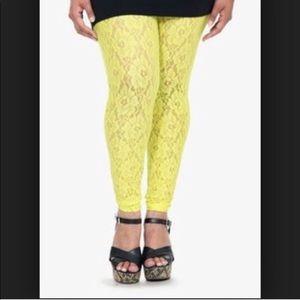 Torrid yellow lime lace leggings plus size 3
